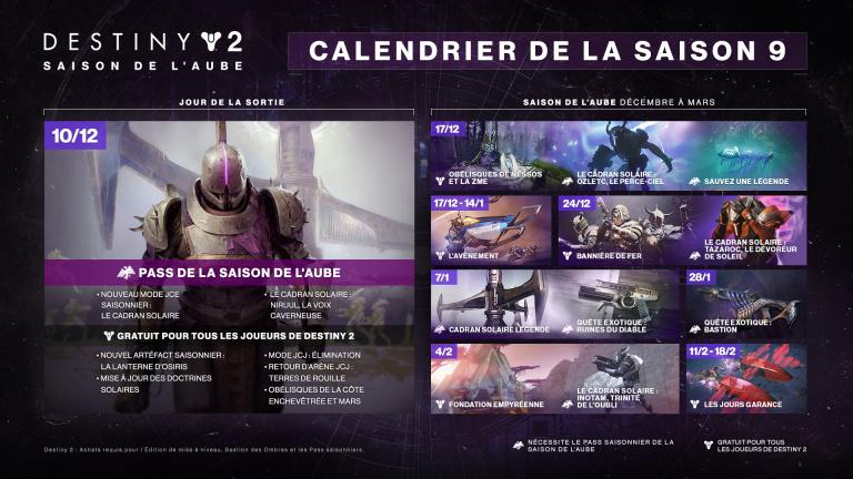 Destiny 2 : Bungie dévoile la feuille de route de La Saison de l'Aube