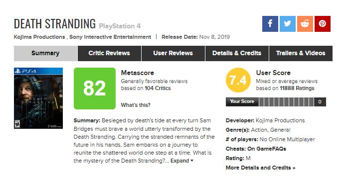Death Stranding : Metacritic supprime 6 400 notes négatives et fait remonter sa moyenne utilisateur