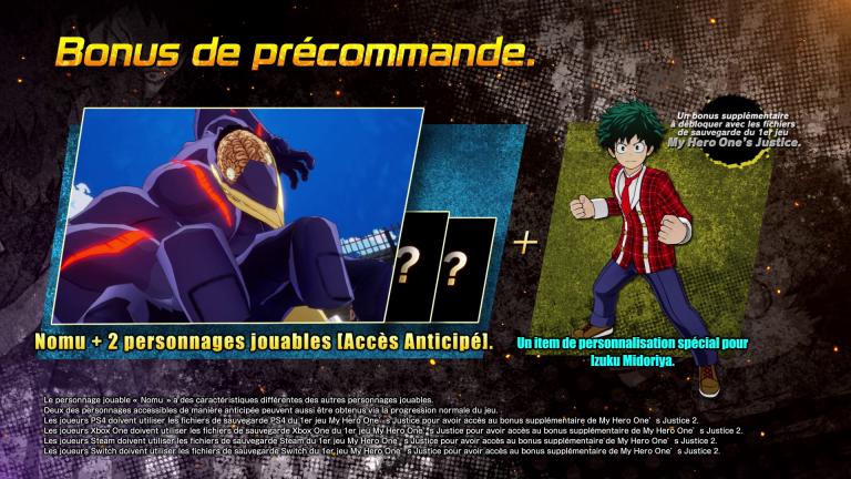 My Hero One's Justice 2 : Trois personnages bonus en cas de précommande