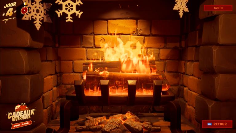 Fortnite, Chapitre 2, saison 1 : se réchauffer près du feu de la cheminée du chalet de la Fête hivernale (mission Fête hivernale)