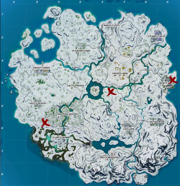 Fortnite, Chapitre 2, saison 1 : visiter l'Atelier, le Chalet de casse-noisette et la Glace artisanale de Mister Polar (mission fête hivernale)