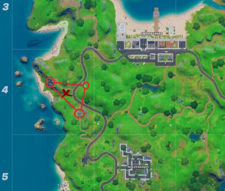 Fortnite, Chapitre 2, saison 1 : trouver le nain de jardin caché entre le beau panorama, une cabane en bois et une grande maison (mission Octuple vs Scratch)