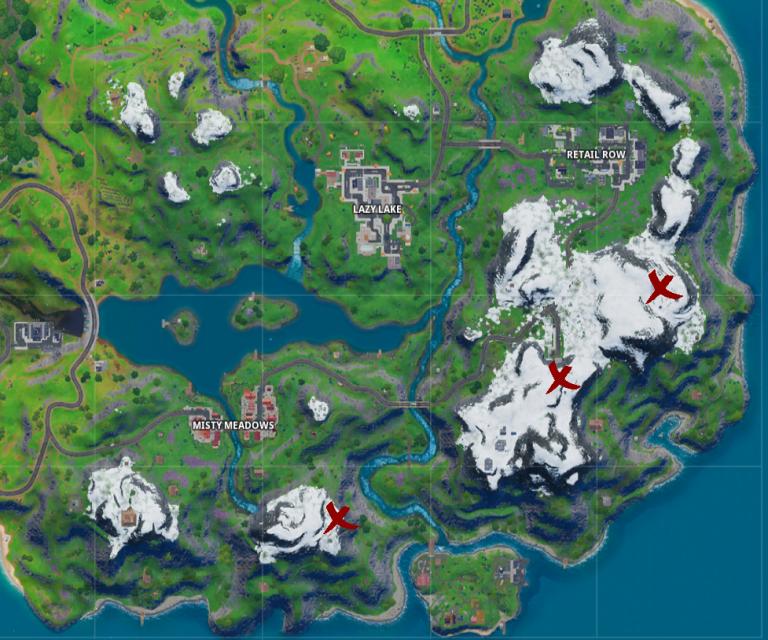 Fortnite, Chapitre 2, saison 1 : visiter des camps de montagnard (mission Octuple vs scratch)