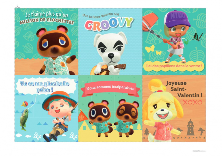 Animal Crossing : New Horizons - des cartes de voeux pour la Saint-Valentin