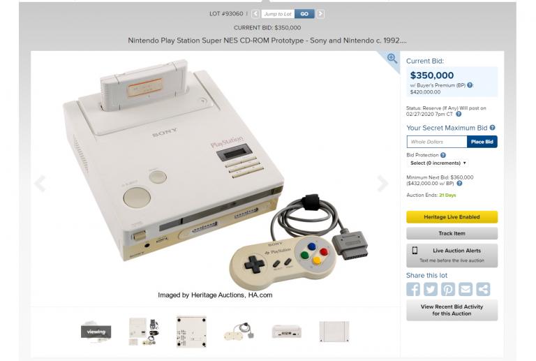 Nintendo Play Station : Déjà 350 000 dollars pour le prototype mis aux enchères