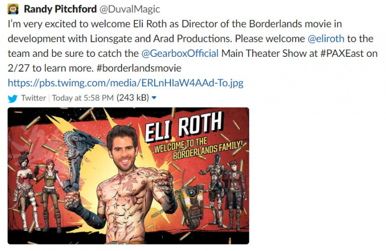 Randy Pitchford (Gearbox) annonce Eli Roth à la réalisation d'un film Borderlands et supprime son tweet