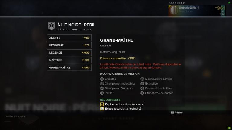 Destiny 2, la Saison des Dignes : tout savoir sur les Assauts Nuit Noire : Péril Grand Maître