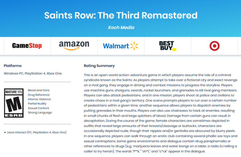 Mafia II Definitive Edition, Saints Row The Third Remastered et SNK Gals' Fighters listés