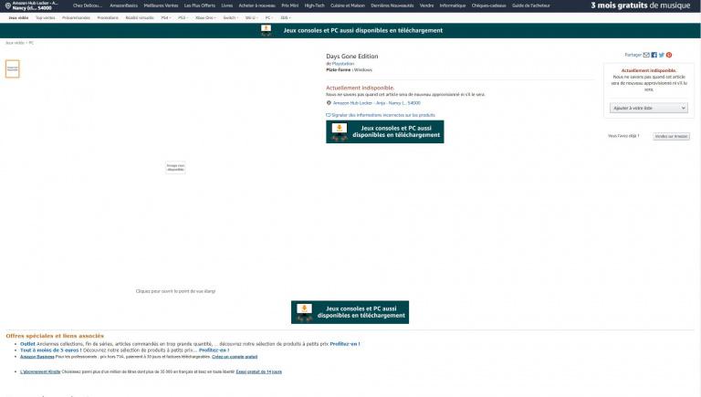 Days Gone listé sur PC par Amazon France
