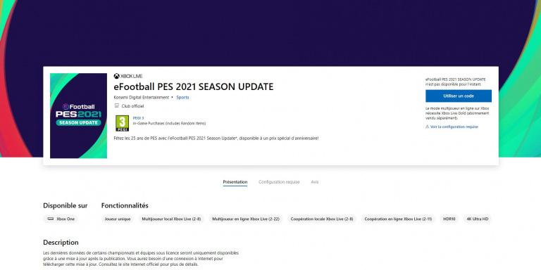 eFootball PES 2021 : La piste de la mise à jour tend à se confirmer