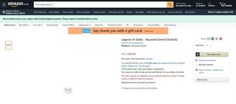 The Legend of Zelda : Skyward Sword aperçu sur Switch chez Amazon.uk