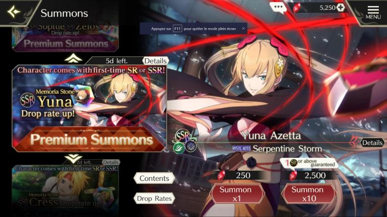 Tales of Crestoria, Yuna : faut-il l'invoquer ? Analyse et guide