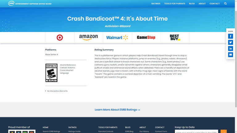 Crash Bandicoot 4 : It's About Time - Le titre listé sur Xbox Series X par l'ESRB