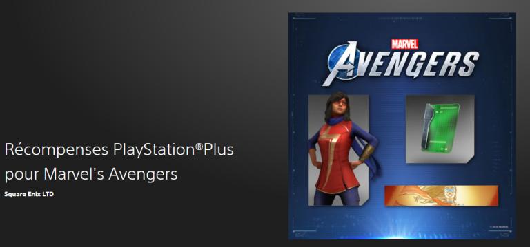 Marvel's Avengers offre un pack aux membres PS+