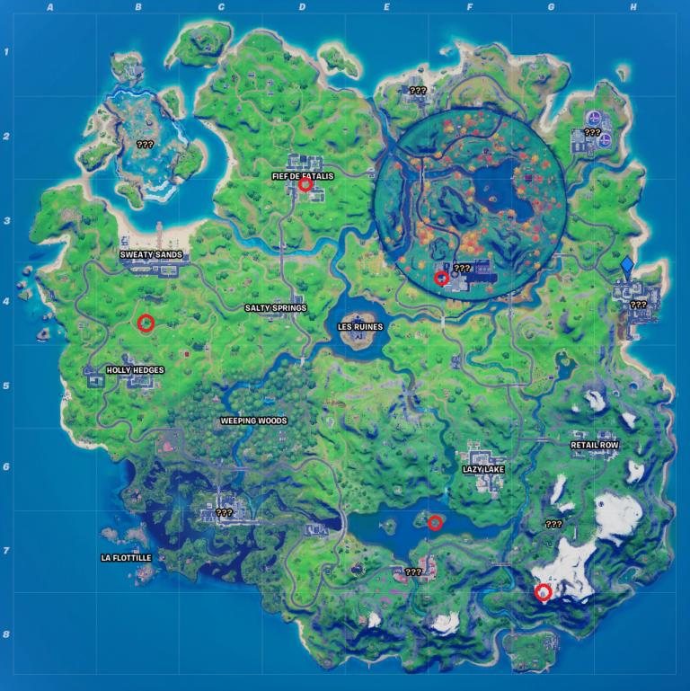 Fortnite, Chapitre 2, saison 4 : visiter tous les lieux-dits en une seule partie (défis exp à gogo, semaine 1)