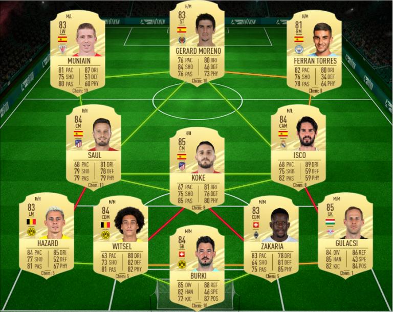 FIFA 21, DCE : ISCO, RTTF, solution du défi création d'équipe
