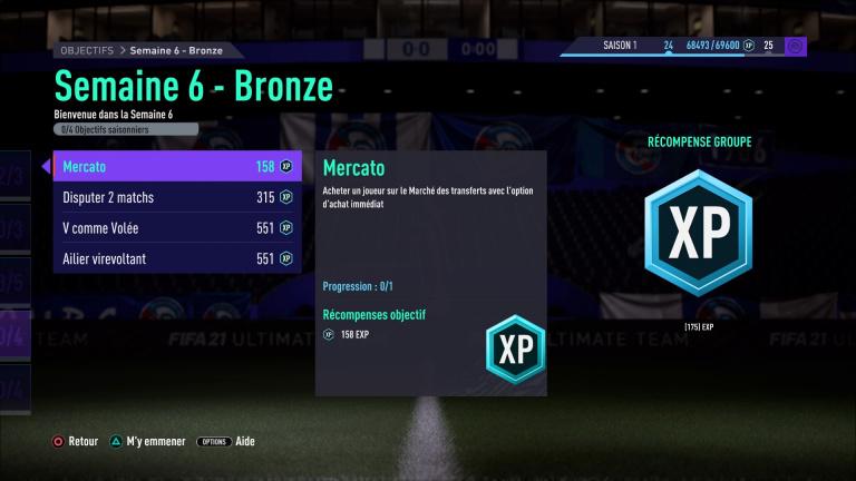FIFA 21, FUT : défis hebdomadaires semaine 6, saison 1, notre guide