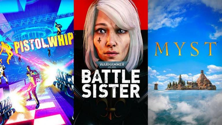 Myst, Warhammer 40k Battle Sister, et Pistol Whip 2089 datés sur appareils Oculus