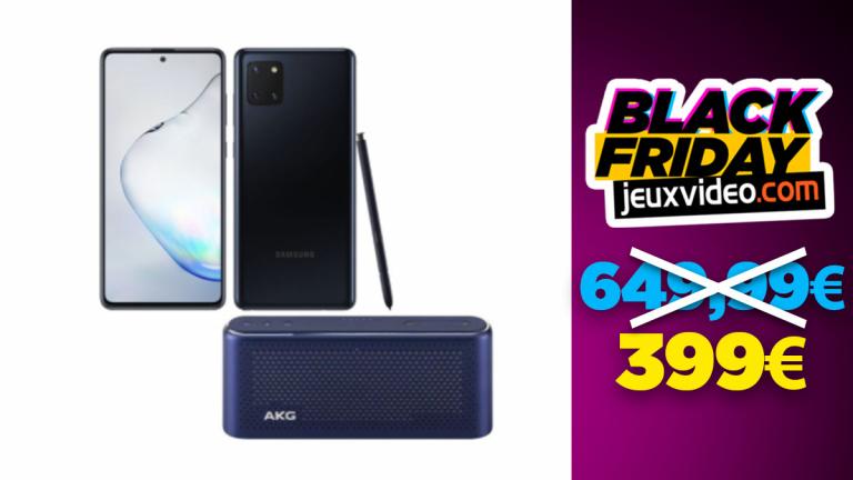 Black Friday : Le Samsung Galaxy Note 10 Lite (128 Go) + l'enceinte Bluetooth S30 à moins de 400 € chez Rue du Commerce