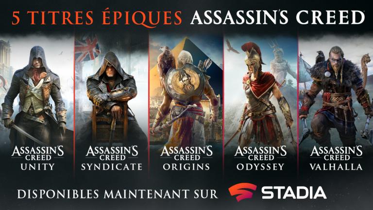 Trois jeux Assassin's Creed débarquent sur Google Stadia