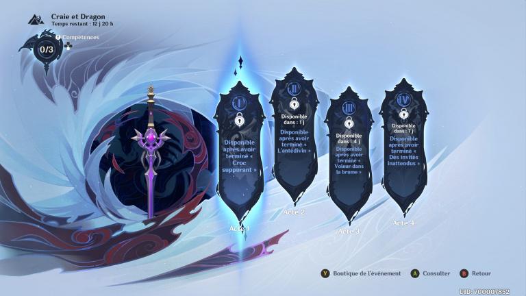 """Genshin Impact : événement limité """"Craie et dragon"""", récupérer la nouvelle épée """"Croc suppurant"""", notre guide [Acte 4 ajouté]"""