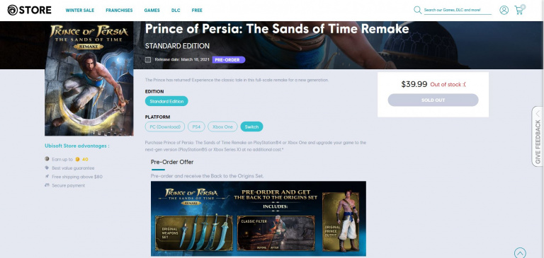 Prince of Persia : Les Sables du Temps Remake - Une version Switch listée par Ubisoft
