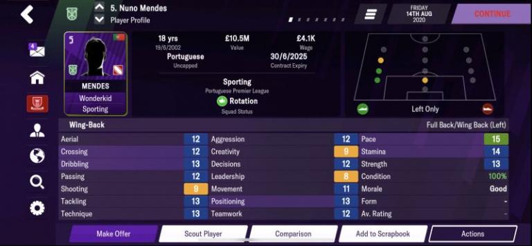 Football Manager 2021 : les pépites au poste d'arrière gauche, notre guide