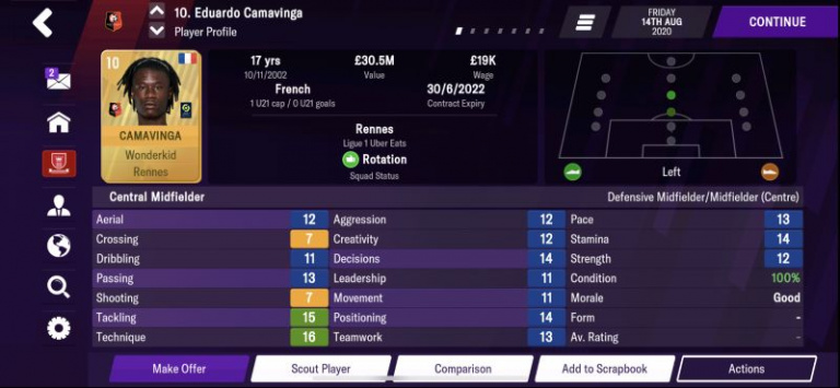 Football Manager 2021 : les pépites au poste de milieu central ou relayeur, notre guide