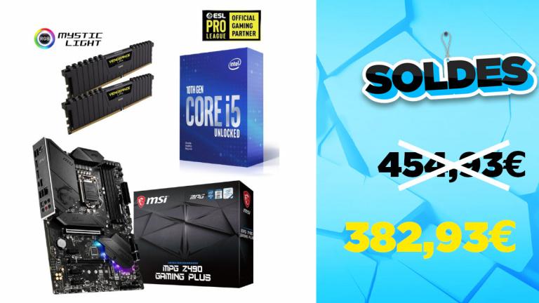 Soldes Kit d'upgrade PC Core i5 16 Go RAM et carte mère ATX à 382,93€