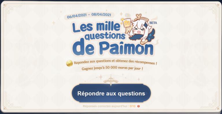 """Genshin Impact, événement """"Les mille questions de Paimon"""" : avoir les bonnes réponses, notre guide"""