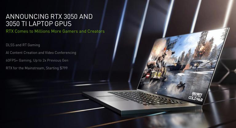 Nouvelles GeForce RTX 3050 et 3050 Ti : des PC portables gamer à moins de 800 dollars