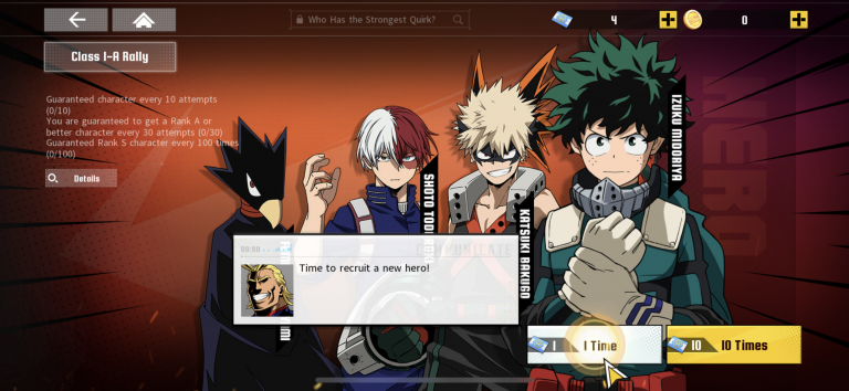 My Hero Academia The Strongest Hero : comment reroll sur iOS et Android ?