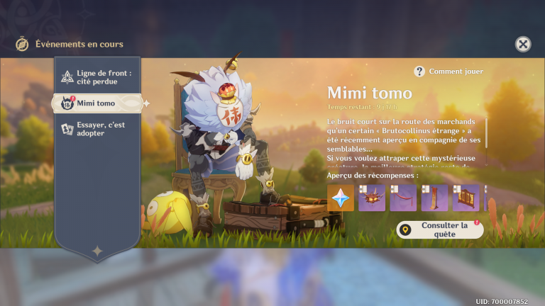 """Genshin Impact, événement """"Mimi tomo"""" : notre guide pour récupérer les Primo-gemmes et les décorations (6ème jour)"""