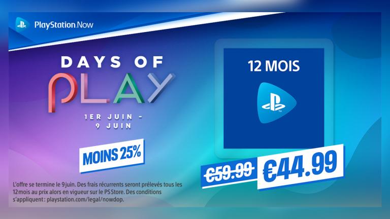 PlayStation Now : l'abonnement 12 mois à -25% pour les Days of Play !