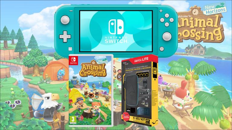Le Pack Nintendo Switch Lite + Animal Crossing + le kit de transport en promotion