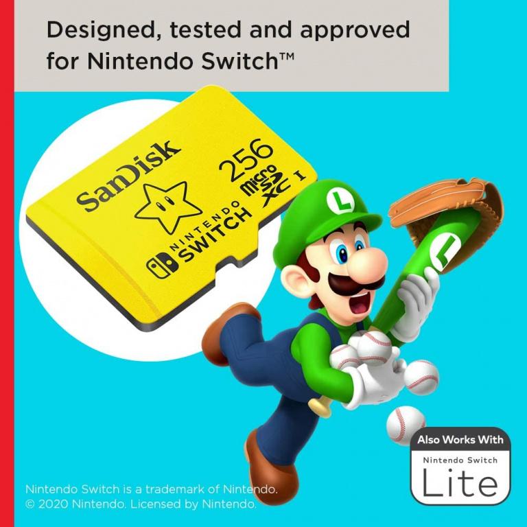La carte mémoire Sandisk édition spéciale Nintendo 256Go en forte baisse de prix !