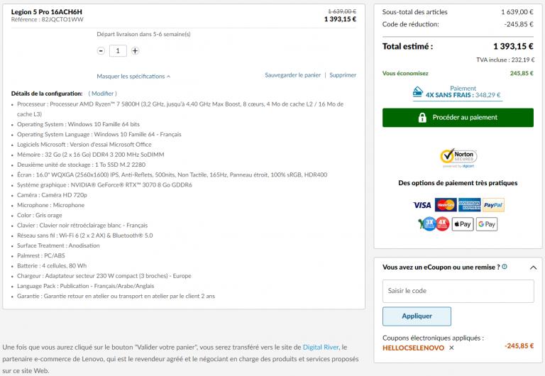 Soldes : Le PC portable Lenovo Legion 5 Pro avec RTX 3070 et Ryzen 7 5800H à prix fou !