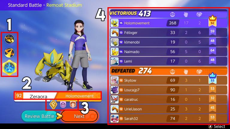 Pokémon Unite : calcul des scores et médailles de fin de bataille, notre guide