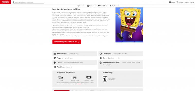 Nickelodeon All-Star Brawl : la date en fuite sur le Nintendo eShop ?