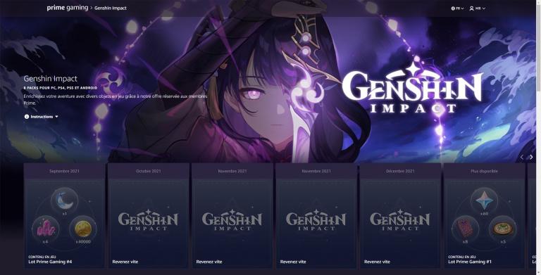 Genshin Impact, récompenses Prime Gaming septembre : comment les obtenir ?