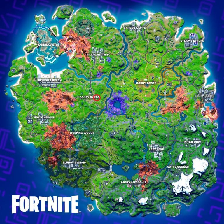 Fortnite, saison 8 : Révéler le prochain cercle de tempête auprès d'un personnage (carte de défis de Courroux)