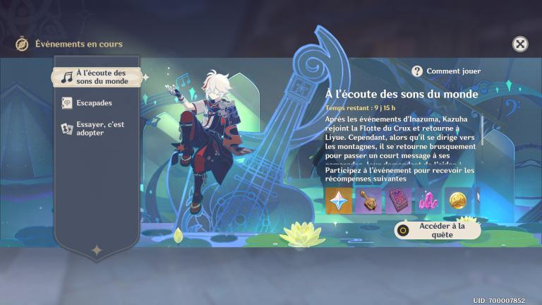 """Genshin Impact, guide événement """"A l'écoute des sons du monde"""" : des primo-gemmes et un gadget à la clé !"""