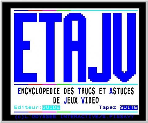 Capture d'écran de 3615 ETAJV sur Minitel.