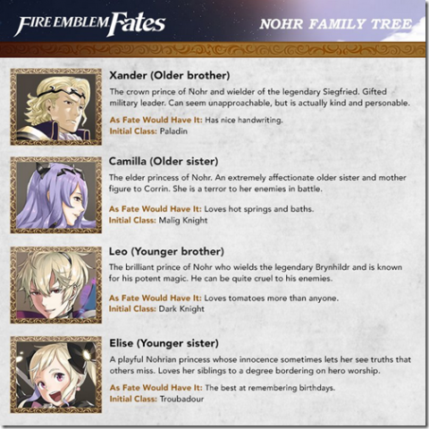rencontrez les familles royales de fire emblem fates actualit s. Black Bedroom Furniture Sets. Home Design Ideas