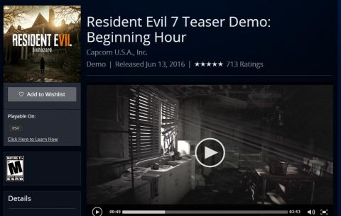 E3 2016 : Resident Evil 7 - La démo jouable disponible sur le PSN
