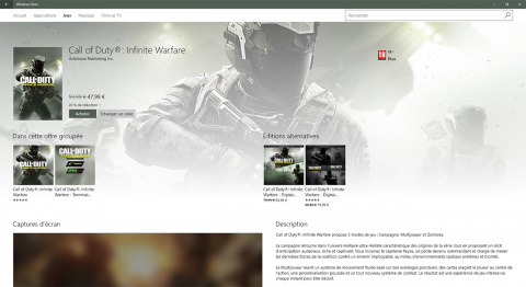 CoD Infinite Warfare : pas de crossplay sur PC entre Steam et le Windows Store