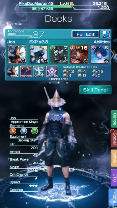 Tableau d'XP du personnage et XP Max. des compétences