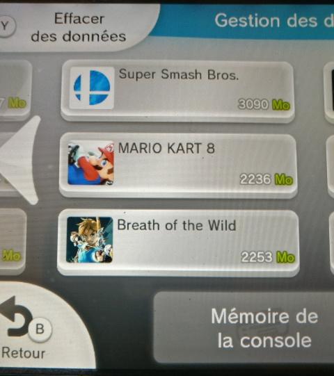 Espace disque requis / mémoire nécessaire (Wii U)