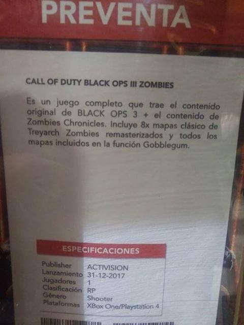 """[MAJ] Un nouveau DLC """"Zombies Chronicles"""" pour Black Ops 3 ?"""