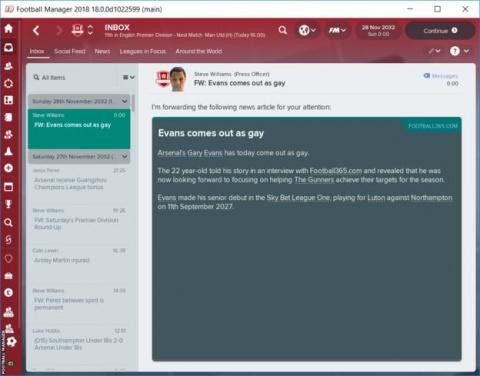 Des joueurs feront leur coming out dans le jeu Football Manager 2018